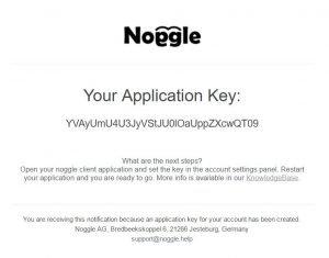 Noggle ApplicationKey eMail